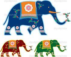 Вектор индийского - индуистов - украшены слона — Стоковая иллюстрация #8917452