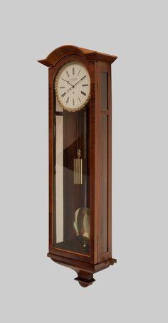 A Flame Mahogany Biedermeier Vienna Wall Regulator, Circa 1850 Grandfather Clock, Wooden Clock, Gifts For Office, Antique Clocks, Vienna, Antique Furniture, Woodworking, Bronze, Wall Clocks