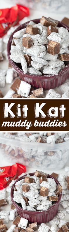 Kit Kat Muddy Buddies - this easy recipe is PERFECT for the Holidays! It's a great party snack or wrapped up as a homemade holiday gift!