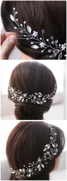 Wedding hair piece Bridal wreath Wedding silver tiara Bridal Headband Wedding Hair Vine Hair jewelry Bridal hair accessories