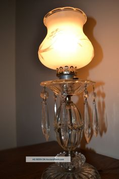 Antique Lighting | Antique Vintage Hurricane Globe Crystal Glass Prism Table  Light Lamp .