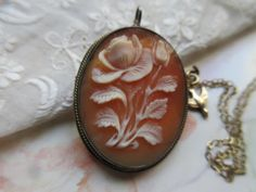 Vintage Floral Cameo Necklace  800 Silver Cameo by AndOnToWillow