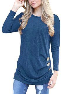 MOLERANI Women s Casual Long Sleeve Round Neck Loose Tunic T Shirt Blouse  Tops at Amazon Women s f1f27441c