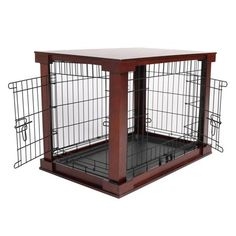 Merry Cage with Crate Cover Mahogany, Medium VEBO Outdoor Steel Chew-Proof Canine kennel / Condo (Large). Has your canine chewed up his last canine kennel? Having owned many kennels ourselves, Metal Dog Cage, Metal Dog Kennel, Steel Cage, Dog Crate Cover, Dog Kennel Cover, Small Dog Cage, Small Dogs, Large Dogs, Dog Cages