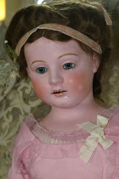 """33"""" German Wax Over Composition Doll from bebesatticfinds on Ruby Lane"""