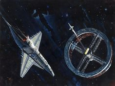 Original painting by Peter Elson, science fiction illustrator and artist. Hard Science Fiction, Science Fiction Kunst, Space Movies, Sci Fi Movies, Fiction Movies, Stanley Kubrick, Sci Fi Kunst, Arte Sci Fi, 2001 A Space Odyssey