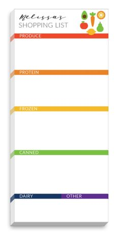 Color Bands Grocery List Notepads