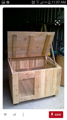 Future house for my Malamute-Husky mix dog. He loves the sense of seclusion and to be able to climb on top of his dog house when it pleases him. Also since the roof can be lifted, it be a breeze to clean it up. I'm so making it for him!
