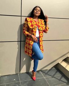 Excited to share this item from my shop: Ankara African print wax midi coat jacket kimono blazer African Inspired Fashion, African Print Fashion, Africa Fashion, African Fashion Dresses, African Attire, African Wear, African Dress, African Style, Kente Styles