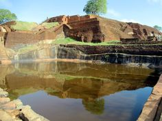 A rectangular pond carved directly into the stone at the summit of Sigiriya Lion Rock in central Sri Lanka provided a source of drinking water for residents of an ancient monastery.