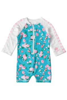 Snapper Rock Baby Girls Zippered One Piece Long Sleeve Sun Suit