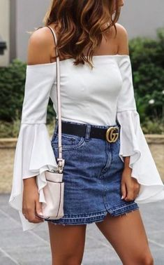 fashion trends / white off shoulder top + bag + skirt