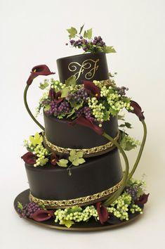 Burgundy Theme Wedding Cake by Ron Ben-Israel Beautiful Wedding Cakes, Gorgeous Cakes, Pretty Cakes, Cute Cakes, Amazing Cakes, Champagne Wedding Cakes, Burgundy Wedding Cake, Cake Original, Super Torte