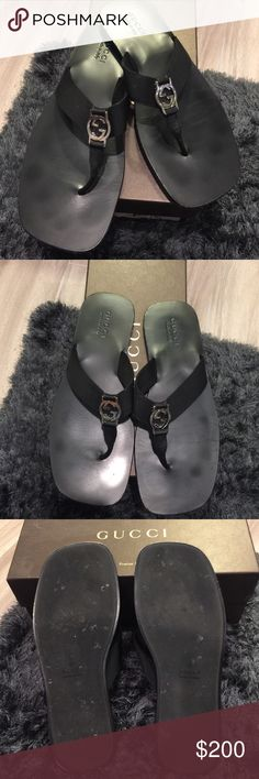 Gucci Flip Flops Mens Black Gucci flip flops. Fabric straps with silver signature GG. In great condition. Comes with box Gucci Shoes Sandals & Flip-Flops