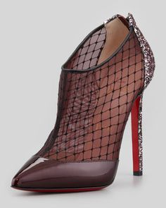 Fillette Patent/Mesh Glitter-Heel Bootie by Christian Louboutin at Neiman Marcus.
