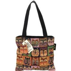 Laurel Burch Tapestry Medium Bag with Zipper Top, Cat Masks
