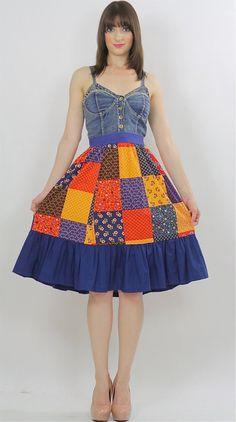 Boho Patchwork skirt Hippie Festival Bohemian mini skirt
