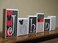 Mickey Mouse Decor Name Blocks Red Black White Routed Edge Personalized Wood Letters Baby Name Blocks Disney Nursery Decor Bedroom Decor Mickey Mouse Nursery, Disney Nursery, Baby Mickey, Black White Bedrooms, White Bedroom Decor, Red Nursery, Nursery Decor, Baby Name Blocks, Mickey Mouse Decorations