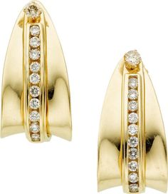 Diamond, Gold Earrings  The stud earrings and removable jackets feature full-cut diamonds weighing a total of approximately 0.60 carat, set in 14k gold