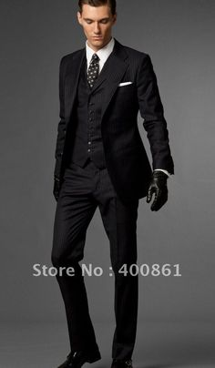 Black Stripe Slim Fits Groom Tuxedos Best man Suit Wedding Men Suits (Jacket+Pants+Tie+Vest) A335 $128.00