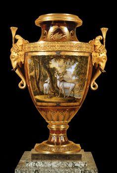 """UNKNOWN POTTER, French """"Clodion"""" Vase 1817 Hard-paste porcelain, gilt bronze, 76 x 56 cm Musée du Louvre, Paris"""
