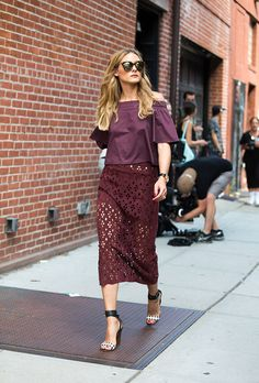NYFW: The Best Fall Outfits from the Spring 2017 Runway Shows | Street Style | New York Fashion Week | Olivia Palermo wearing a plum-colored top with matching lace pencil skirt and heels sandals