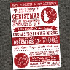 Holiday Christmas Party Invitation -  Printable or Printed for you