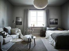 cool 46 Inspiring Grey Studio Apartment Decor Ideas On A Budget One Room Apartment, Apartment Living, White Studio Apartment, Minimalist Studio Apartment, Apartment Therapy, Studio Apartment Decorating, Apartment Design, Small Space Living, Small Spaces
