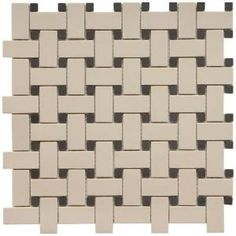 Old World Basket Weave Antique White and Black 12 in. x 12 in. Unglazed Porcelain Mosaic Floor and Wall Tile-FKOBWW at The Home Depot