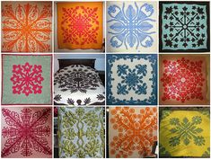 Hawaiian quilts are a bit different than traditional ones, but very beautiful. Remember how you folded a piece of paper several times, then cut designs out, and unfolded it to get a snowflake? Same idea... just use fabric, and applique onto another piece of fabric. Start with a pillow!