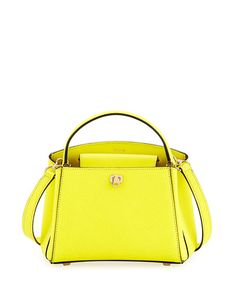 VALEXTRA Triennale Micro Leather Top-Handle Bag, Lime. #valextra #bags #shoulder bags #hand bags #suede #lining #