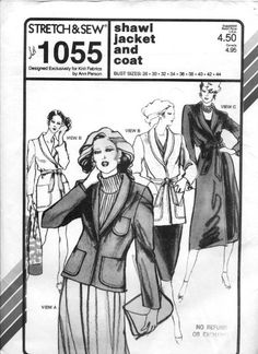 Stretch & Sew Pattern 1055 ~ Ladies' Shawl Collar Jacket and Coat ~ Bust 28-44