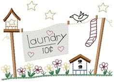 Laundry Ten Cents Sampler - 5x7   Words and Phrases   Machine Embroidery Designs   SWAKembroidery.com HeartStrings Embroidery