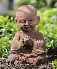 Add a unique touch of décor to the garden with this statue of Buddha. Crafted from durable polyresin and stone, this whimsical piece will provide the perfect flourish to any outdoor area!