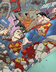 superman (clark joseph kent / kal-el) vs bizarro (el-kal/kent clark) - frank quitely