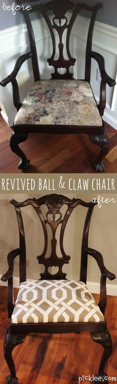 The Modern Twist Chippendale Style Chair {before & after} - Picklee Chippendale Chairs, My Furniture, Table Furniture, Table And Chairs, Interior Design, Painted Furniture, Dining Room Table Chairs, Home Design Diy, Furniture