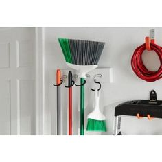 Everbilt White Board Wall-Mounted Garage Storage Tool Holder Organizer with Black S-Hooks-69657 - The Home Depot Tool Storage, Garage Storage, Garage Shelving Plans, Tool Organization, Storage Spaces, Stone Siding Panels, Hooks, Wall Brackets, Floor Space