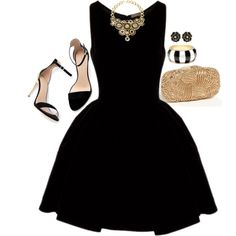 Pretty black dress with gold accessories