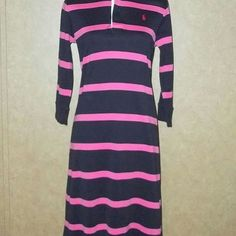 """Ralph Lauren Pink & Navy Blue Stripe Shirt Dress Size M   Excellent Pre-owned Condition no stains or holes.  Appears never worn.   3/4 Long Sleeves  Hidden Button closure at neck  100% Cotton   Aprox. Measurements Taken Flat   Shoulders: 16""""  Bust: 19""""  Sleeves: 19/14""""  Length: 39""""   $19.99 + $6.80 Shipping  Combined shipping is $3.00 each additional item     Item13  Follow Me On FaceBook https://www.facebook.com/Sandragscloset/"""