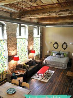 Studio Loft - eclectic - living room - atlanta - Bricks and Baubles cozy Studio Apartments, Studio Apartment Design, Small Apartments, Small Spaces, Studio Design, Studio Loft, Tiny Studio, Dream Studio, Style Loft