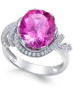 Pink Topaz (4-9/10 ct. t.w.) and White Topaz (1/3 ct. t.w.) Ring in Sterling Silver - Pink
