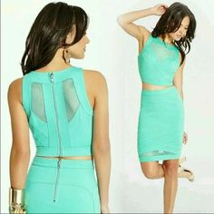 """PRICE DROP Guess Two Piece Bodycon Outfit! Never been worn, NWT. No Damage! PERFECT FOR NYE!Color: Aquamarine. Crisscross bandage appliqué at hem. Geometric mesh inset detail at hem. Skirt measures 19"""" from waist to hem. Material: 6% Rayon, 28% Nylon, 6% Spandex. Mesh: 95% Nylon, 5% Spandex. Machine washable. Please let me know if you have any questions and feel free to make an offer(: Guess Dresses"""