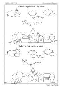 Sopra - Sotto - Paese Nature Activities, Kids Learning Activities, Infant Activities, Colouring Pages, Montessori, Worksheets, Diagram, Kids Rugs, Christian