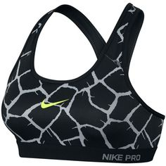 Nike Pro Classic Padded Giraffe Sports Bra ($47) ❤ liked on Polyvore featuring activewear, sports bras, nike, sports bra, nike activewear, padded sports bra and yoga activewear