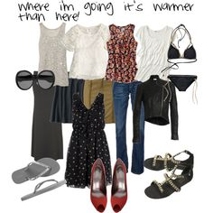 """""""what to pack for a trip with warm days and cool nights"""" by chicpaint on Polyvore"""