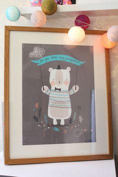 Big bear Nursery/ Childrens Print size A3 by Nikkipea on Etsy