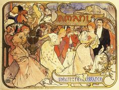 """""""   Poster design for 'Amants - Comdie de M. Donnay' at the Theatre de la Renaissance, Paris by Alphonse Mucha, ca. 1985 """""""