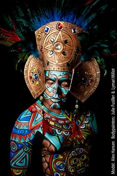 This work, amazes us every time again! This work, amazes us every time again! Aztecas Art, Aztec Culture, Tribal Face, Arte Tribal, Aztec Warrior, Make Up Art, Chicano Art, Indigenous Art, Human Art
