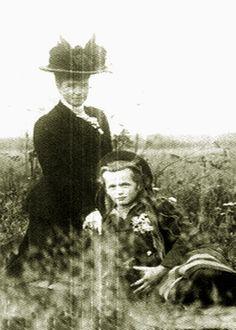 "Dowager Empress Maria Feodorovna of Russia and granddaughter,Grand Duchess Olga Nikolaevna Romanova of Russia. ""AL"""