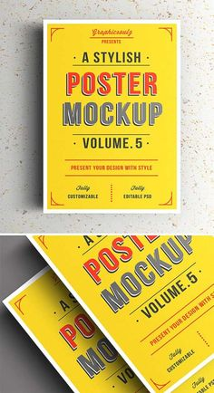 free realistic posters psd mock up